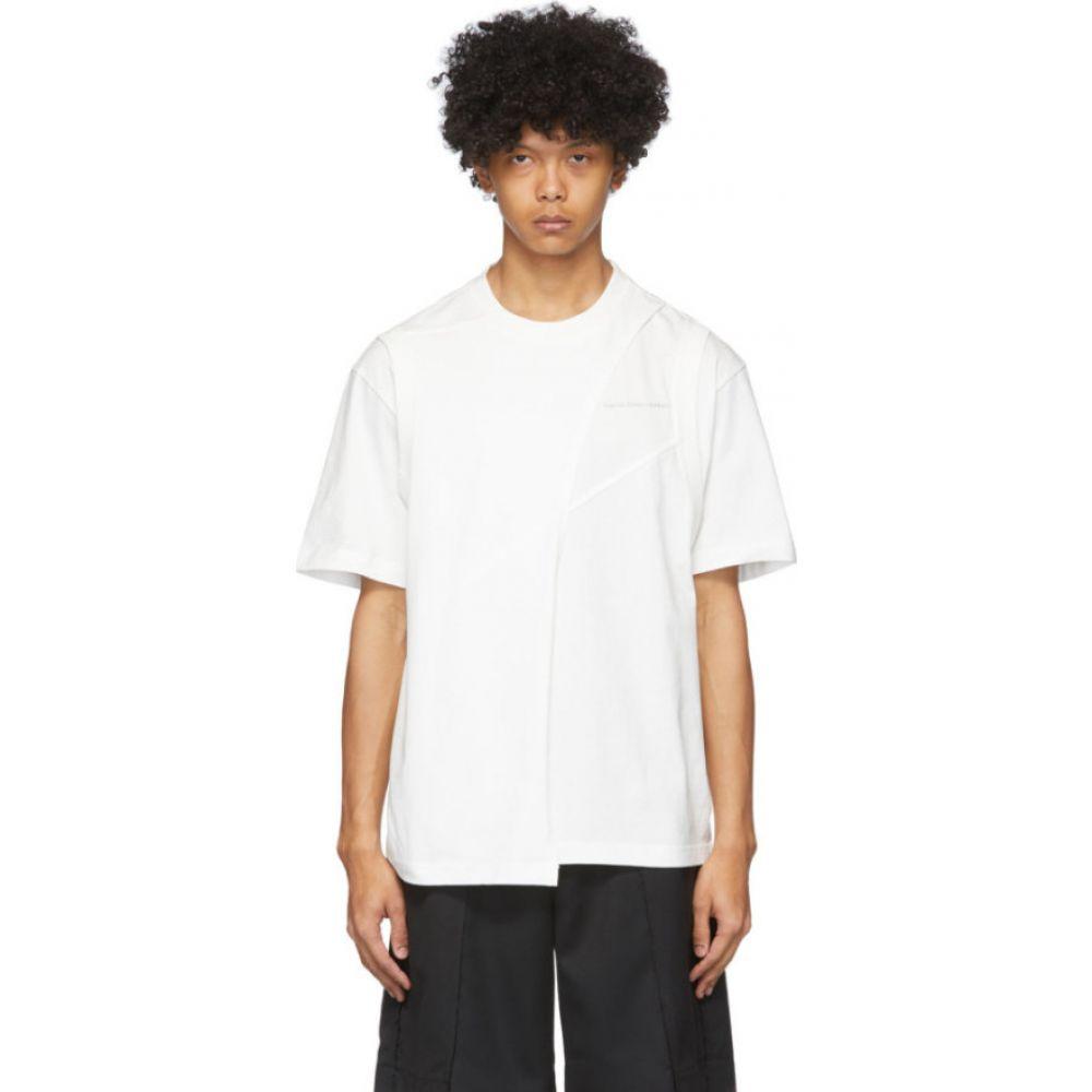 フェン チェン ワン Feng Chen Wang メンズ Tシャツ トップス【White Panelled T-Shirt】White