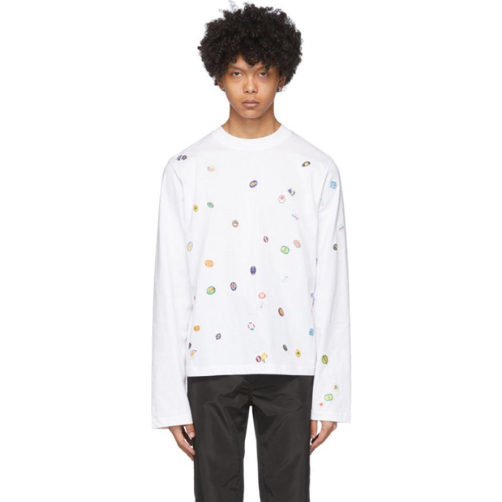 ボッター Botter メンズ 長袖Tシャツ トップス【White Fruit Stickers Long Sleeve T-Shirt】White