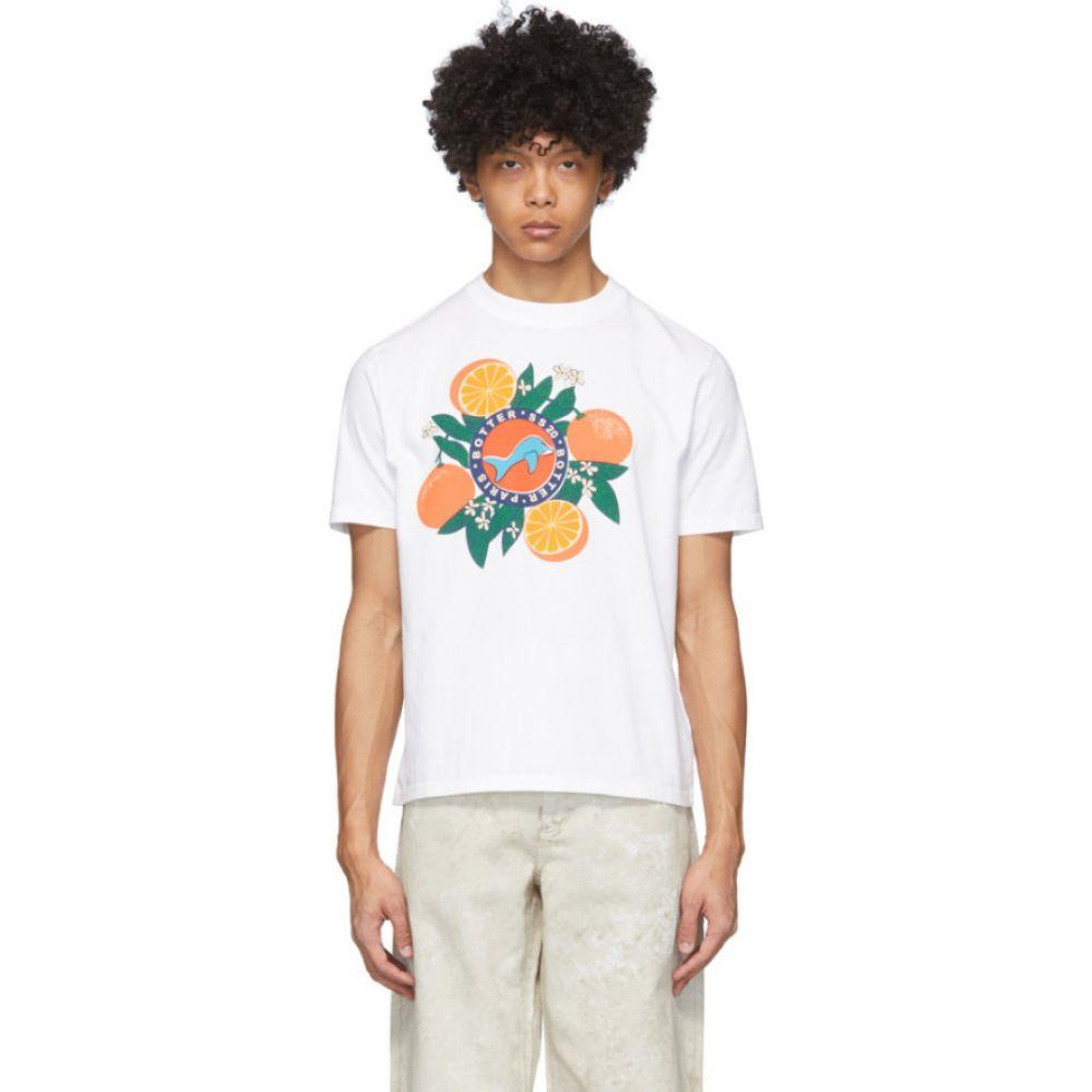 ボッター Botter メンズ Tシャツ トップス【White Orange Silkscreen Print T-Shirt】White