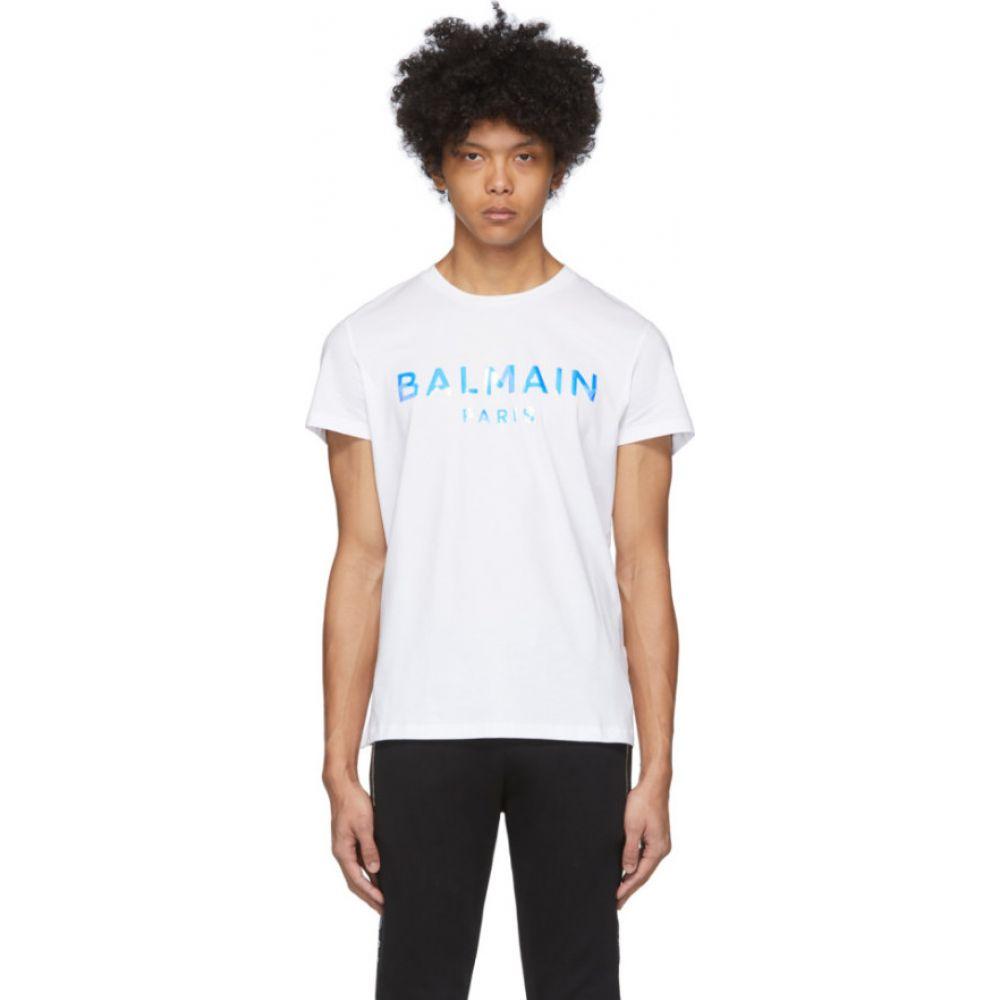 バルマン Balmain メンズ Tシャツ トップス【White Hologram Logo T-Shirt】White