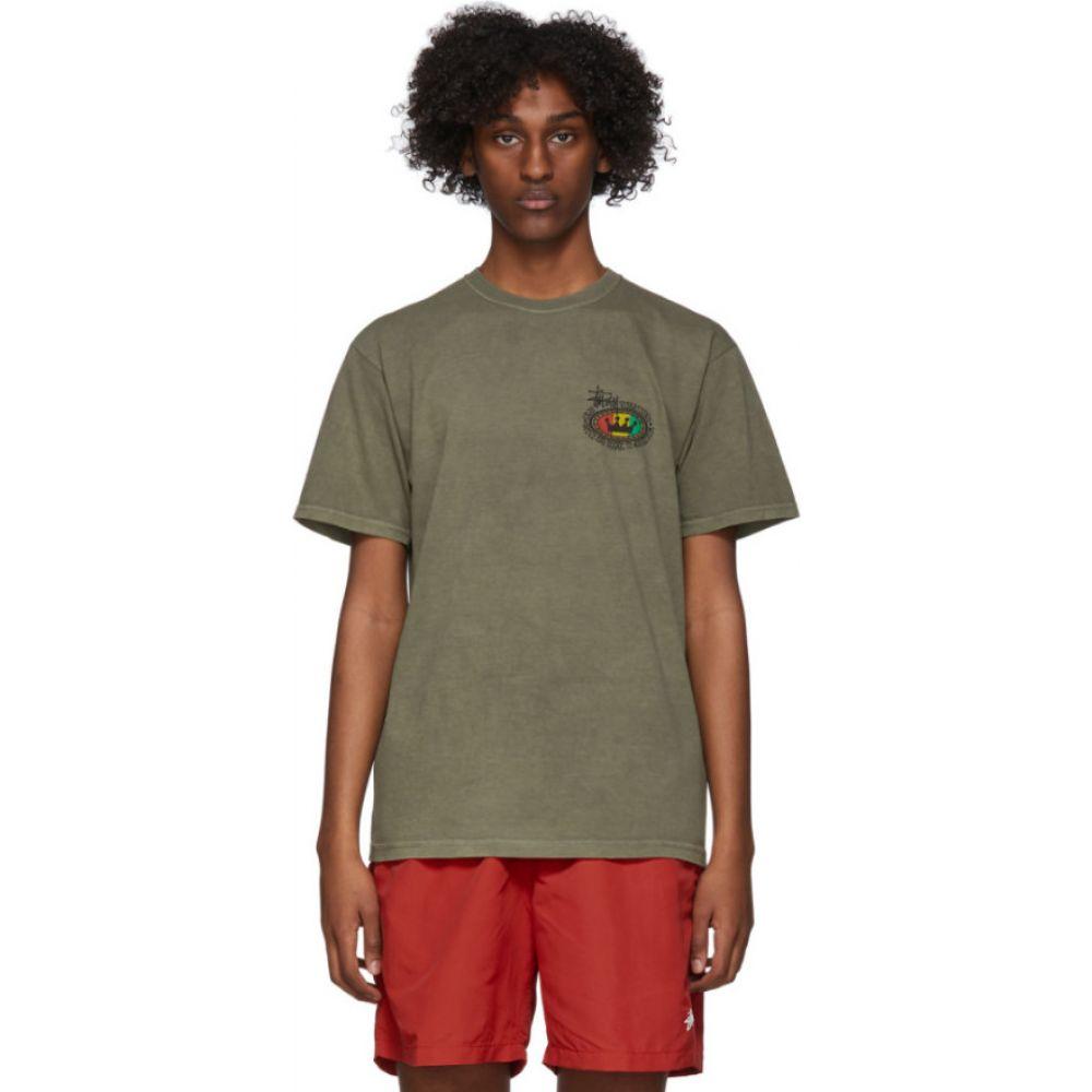 ステューシー Stussy メンズ Tシャツ トップス【Green Rasta Oval T-Shirt】Olive