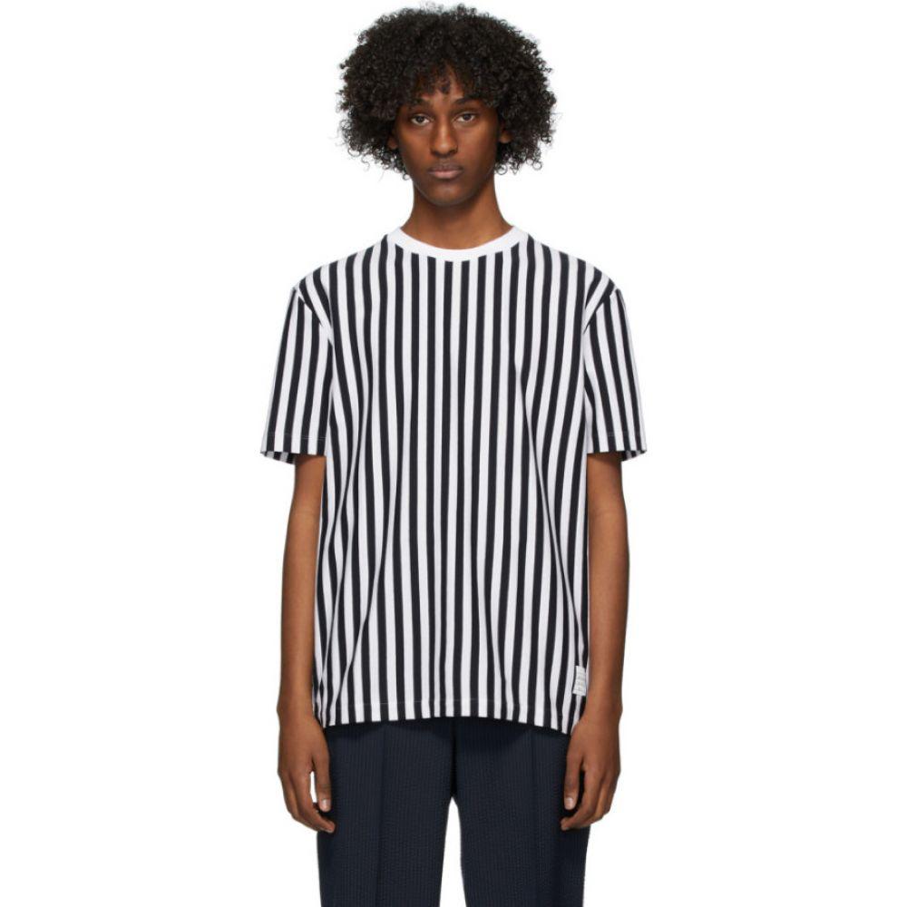 トム ブラウン Thom Browne メンズ Tシャツ トップス【Navy & White RWB Bold Stripe T-Shirt】Navy