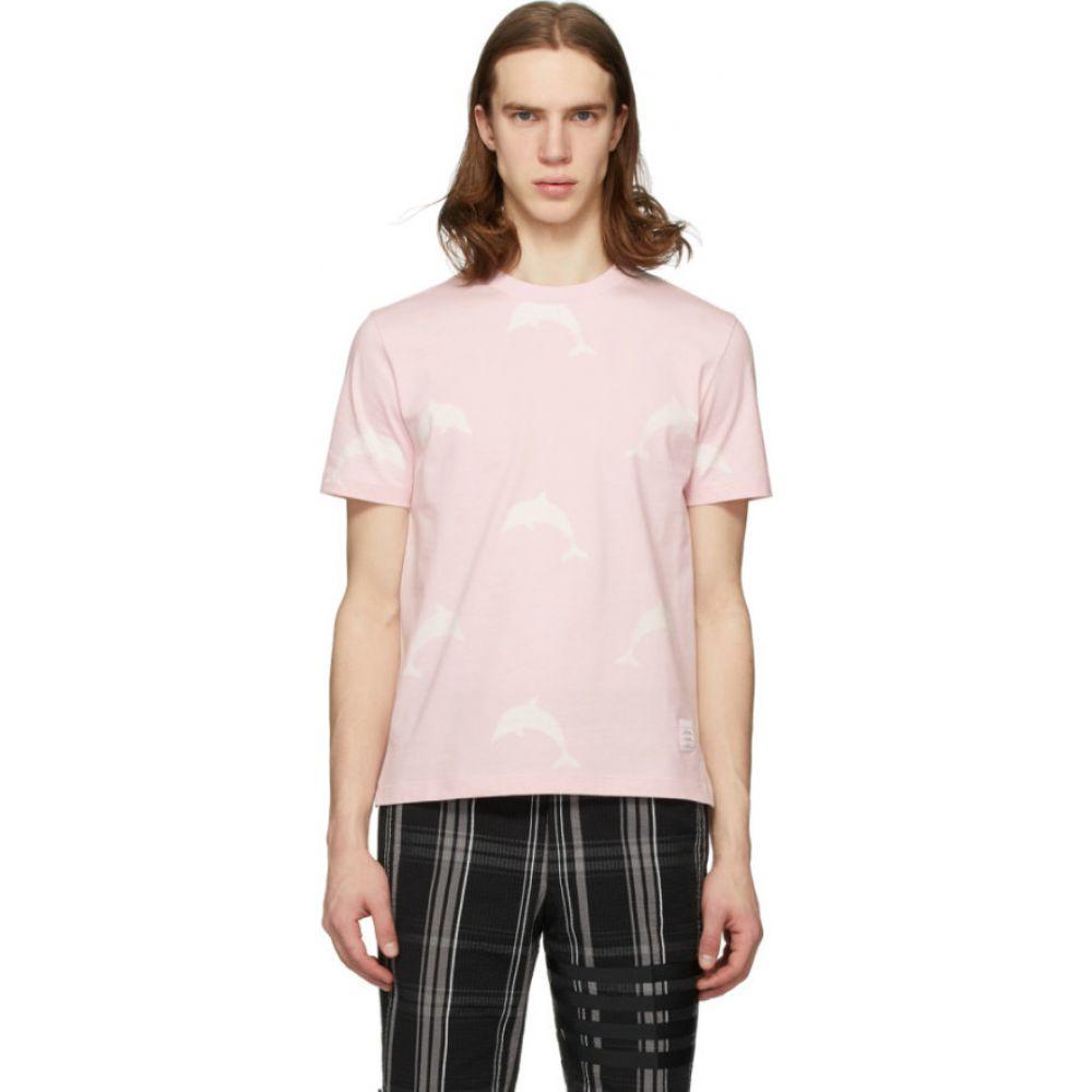 トム ブラウン Thom Browne メンズ Tシャツ トップス【Pink Dolphin Icon Print T-Shirt】Light pink