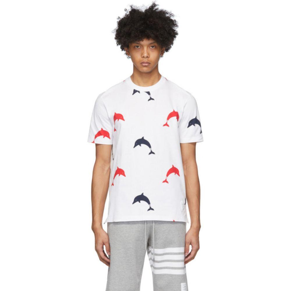 トム ブラウン Thom Browne メンズ Tシャツ トップス【White RBW All Over Dolphin Icon T-Shirt】Red/Blue/White