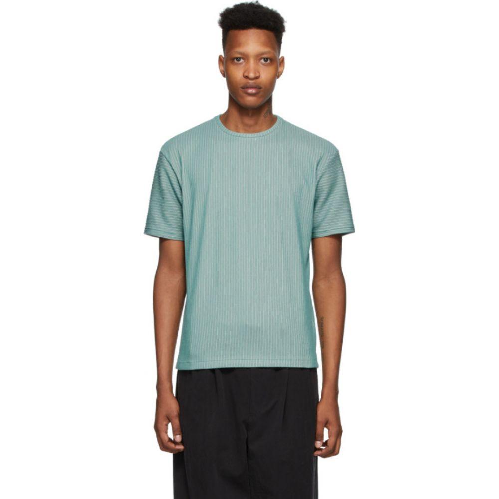 イッセイ ミヤケ Issey Miyake Men メンズ Tシャツ トップス【Green Tucked Stripe Short Sleeve T-Shirt】Light green