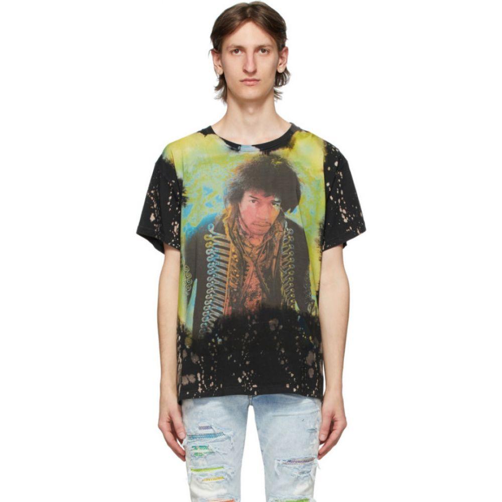 アミリ Amiri メンズ Tシャツ トップス【Black Bleached Jimi Hendrix T-Shirt】Black