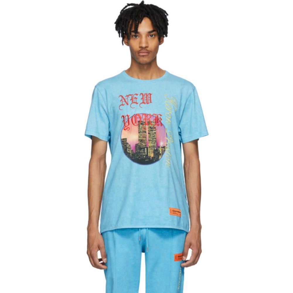 ヘロン プレストン Heron Preston メンズ Tシャツ トップス【Blue NYC Skyline T-Shirt】Light blue