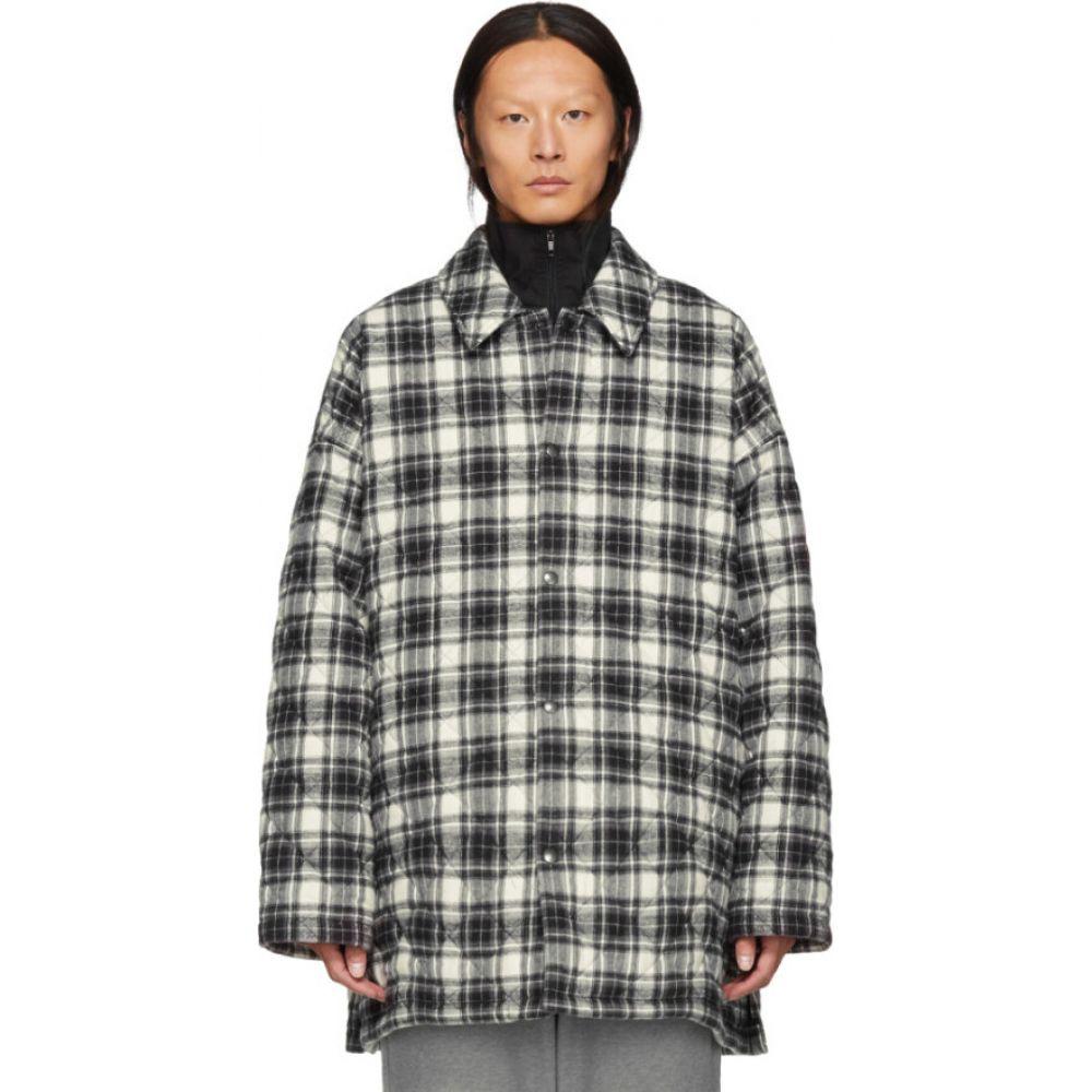 バレンシアガ Balenciaga メンズ コート フランネルシャツ アウター【Grey Check Flannel Padded Shirt Coat】