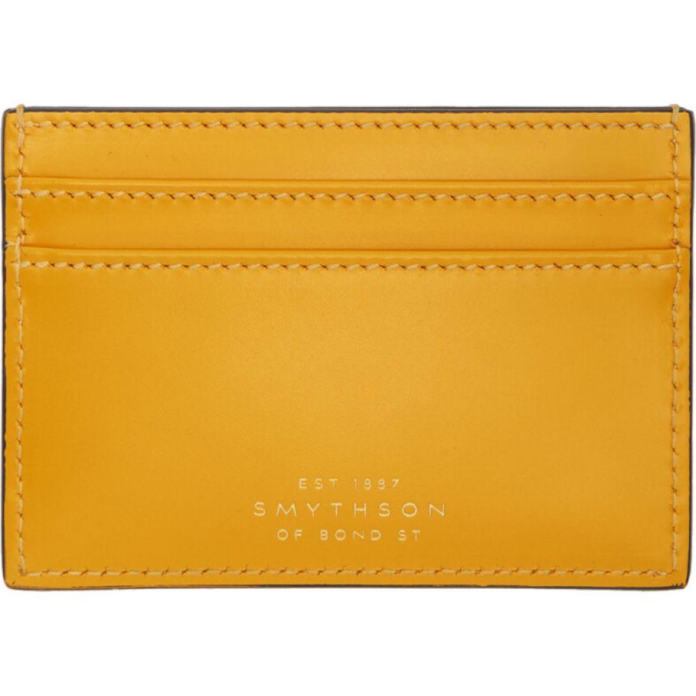 スマイソン Smythson メンズ カードケース・名刺入れ カードホルダー【Yellow Wigmore Card Holder】