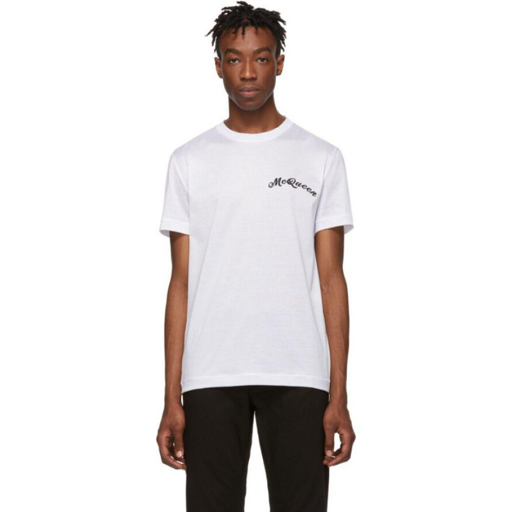 アレキサンダー マックイーン Alexander McQueen メンズ Tシャツ トップス【White Embroidered Logo T-Shirt】White