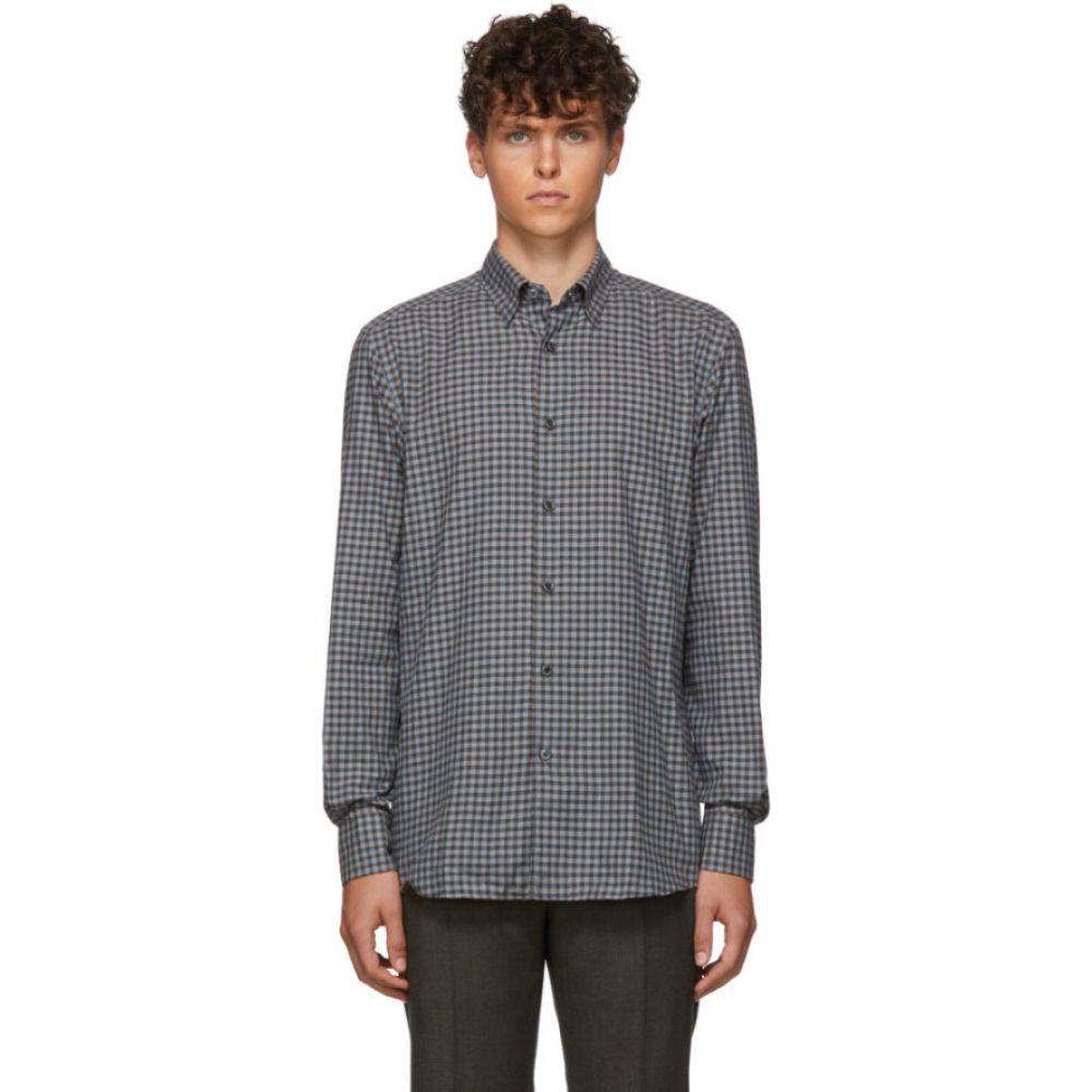 エルメネジルド ゼニア Ermenegildo Zegna メンズ シャツ トップス【Grey Check Dress Shirt】Grey