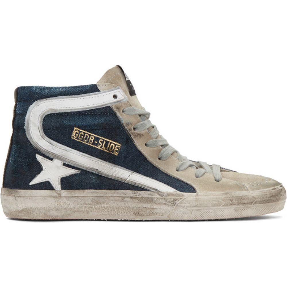 ゴールデン グース Golden Goose メンズ スニーカー シューズ・靴【Blue & Grey Denim Slide Sneakers】Blue denim/White