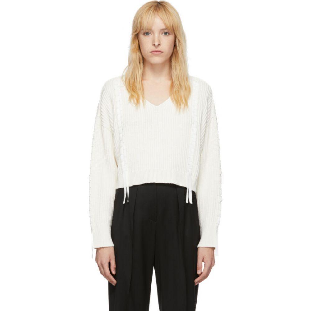 スリーワン フィリップ リム 3.1 Phillip Lim レディース ニット・セーター トップス【White Cropped Weave Sweater】White