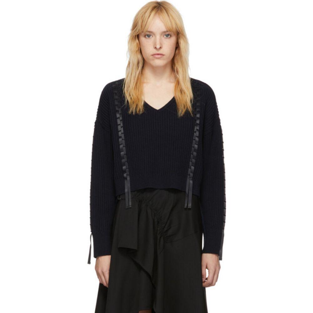 スリーワン フィリップ リム 3.1 Phillip Lim レディース ニット・セーター トップス【Navy Cropped Weave Sweater】Midnight