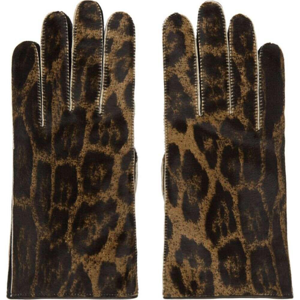 ラフ シモンズ Raf Simons メンズ 手袋・グローブ 【Brown Leather Animal Print Gloves】Brown/Black