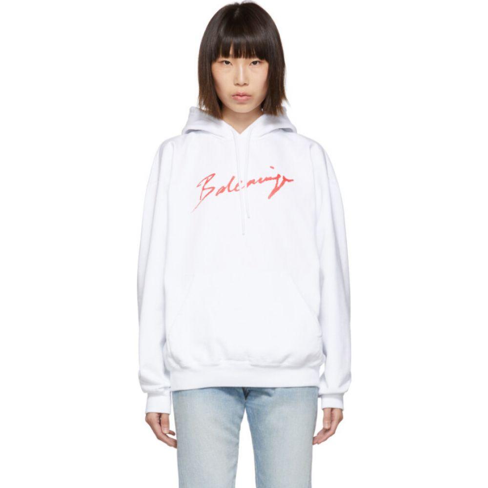 バレンシアガ Balenciaga レディース パーカー トップス【White & Red Signature Hoodie】White/Red