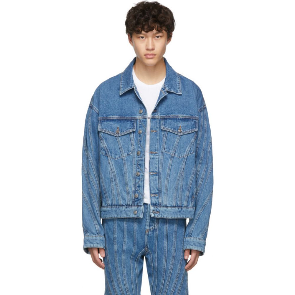 ミュグレー Mugler メンズ ジャケット Gジャン アウター【Blue Oversized Denim Spiral Jacket】Blue
