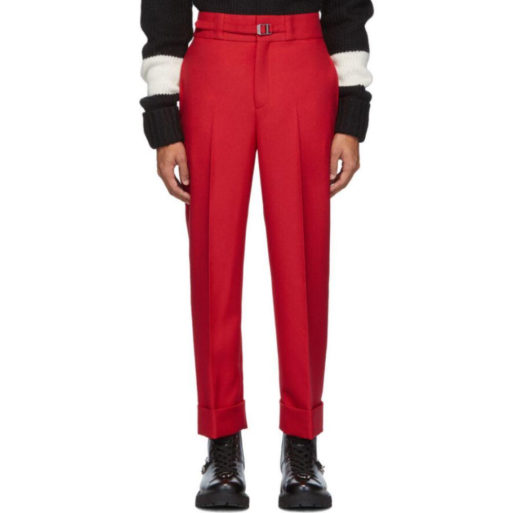 ニール バレット Neil Barrett メンズ スキニー・スリム ボトムス・パンツ【Red Belted Slim Tube-Leg Trousers】Red