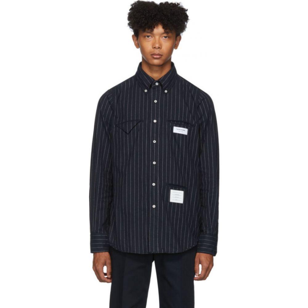 トム ブラウン Thom Browne メンズ シャツ フランネルシャツ トップス【Navy Striped Flannel Shirt】Navy