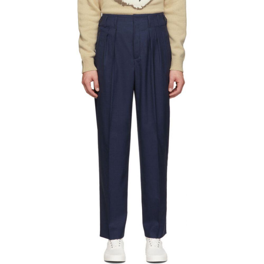 メゾン キツネ Maison Kitsune メンズ ボトムス・パンツ 【Navy Melange Pleated Trousers】Navy