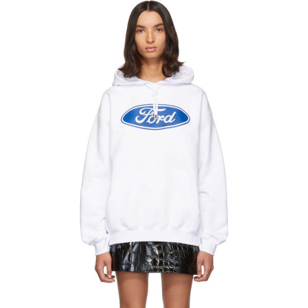 ヴェルサーチ Versace レディース パーカー トップス【White Ford Edition Sports Hoodie】White