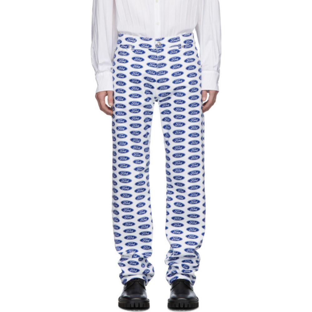 ヴェルサーチ Versace メンズ ジーンズ・デニム ボトムス・パンツ【White & Blue Ford Edition Logo Jeans】White