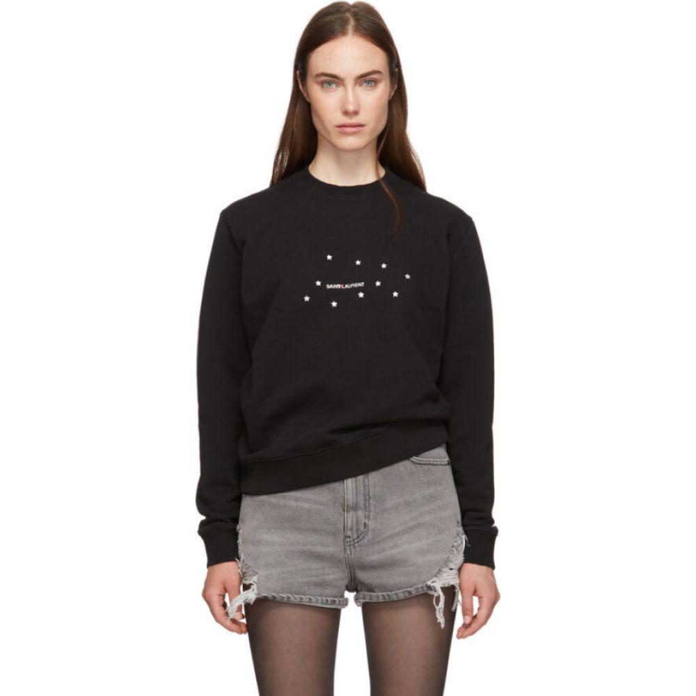 イヴ サンローラン Saint Laurent レディース スウェット・トレーナー トップス【Black Star Logo Sweatshirt】Black/Silver