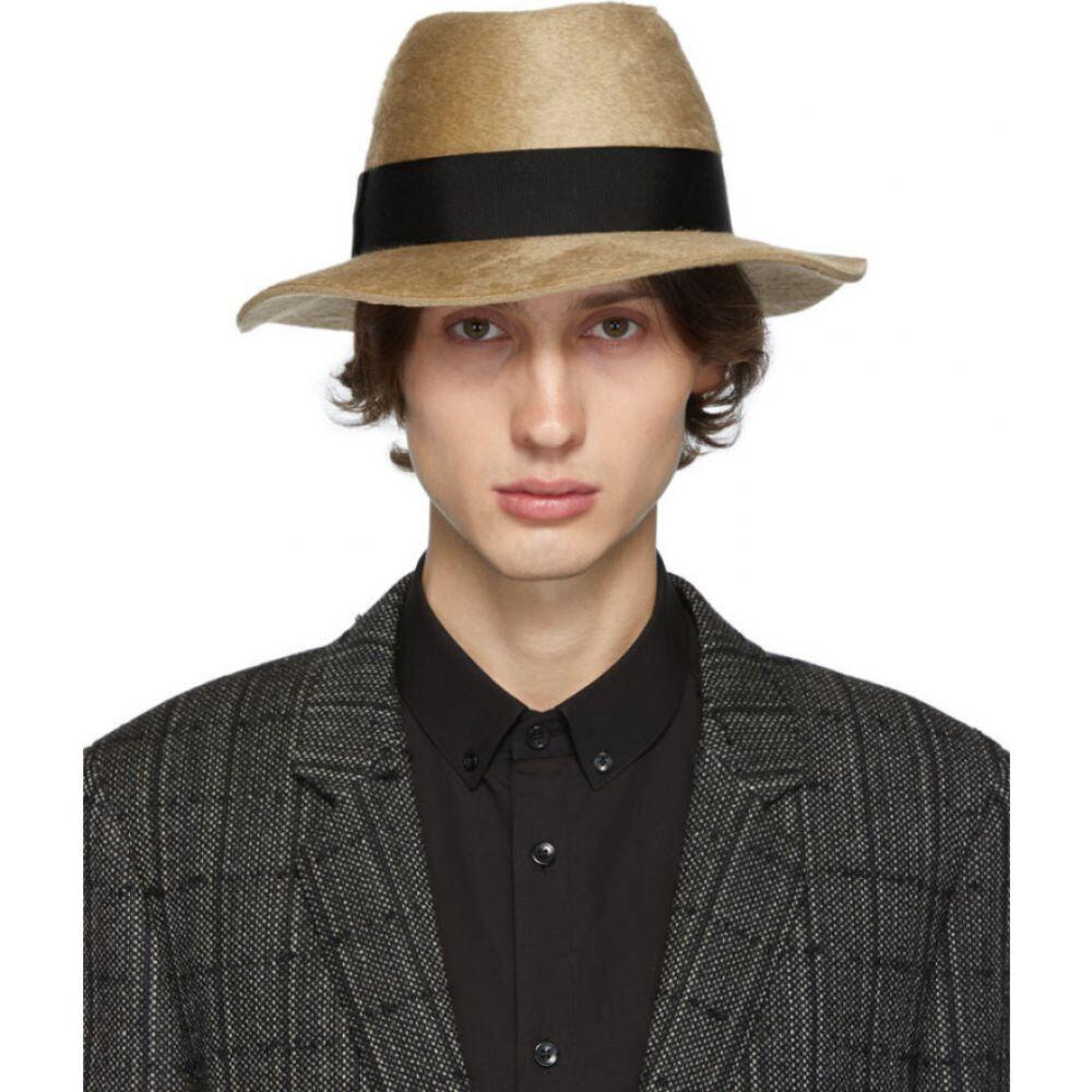 イヴ サンローラン Saint Laurent メンズ ハット フェドラ 帽子【Brown Felt Fedora】Light brown/Black