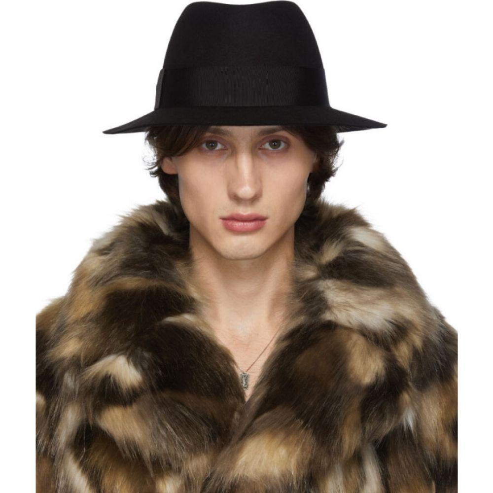 イヴ サンローラン Saint Laurent メンズ ハット フェドラ 帽子【Black Felt Fedora】Black