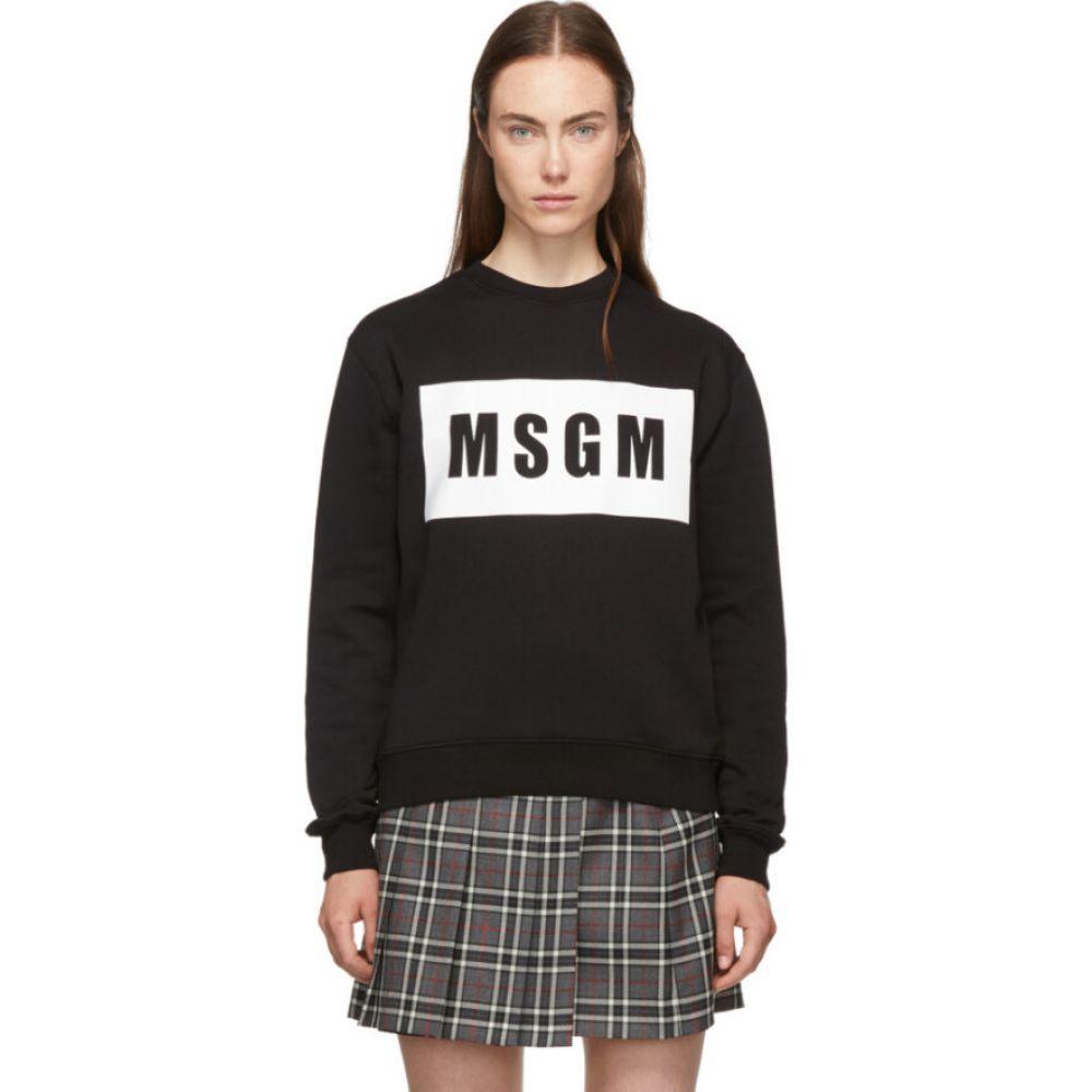 エムエスジーエム MSGM レディース スウェット・トレーナー トップス【Black Box Logo Sweatshirt】Black
