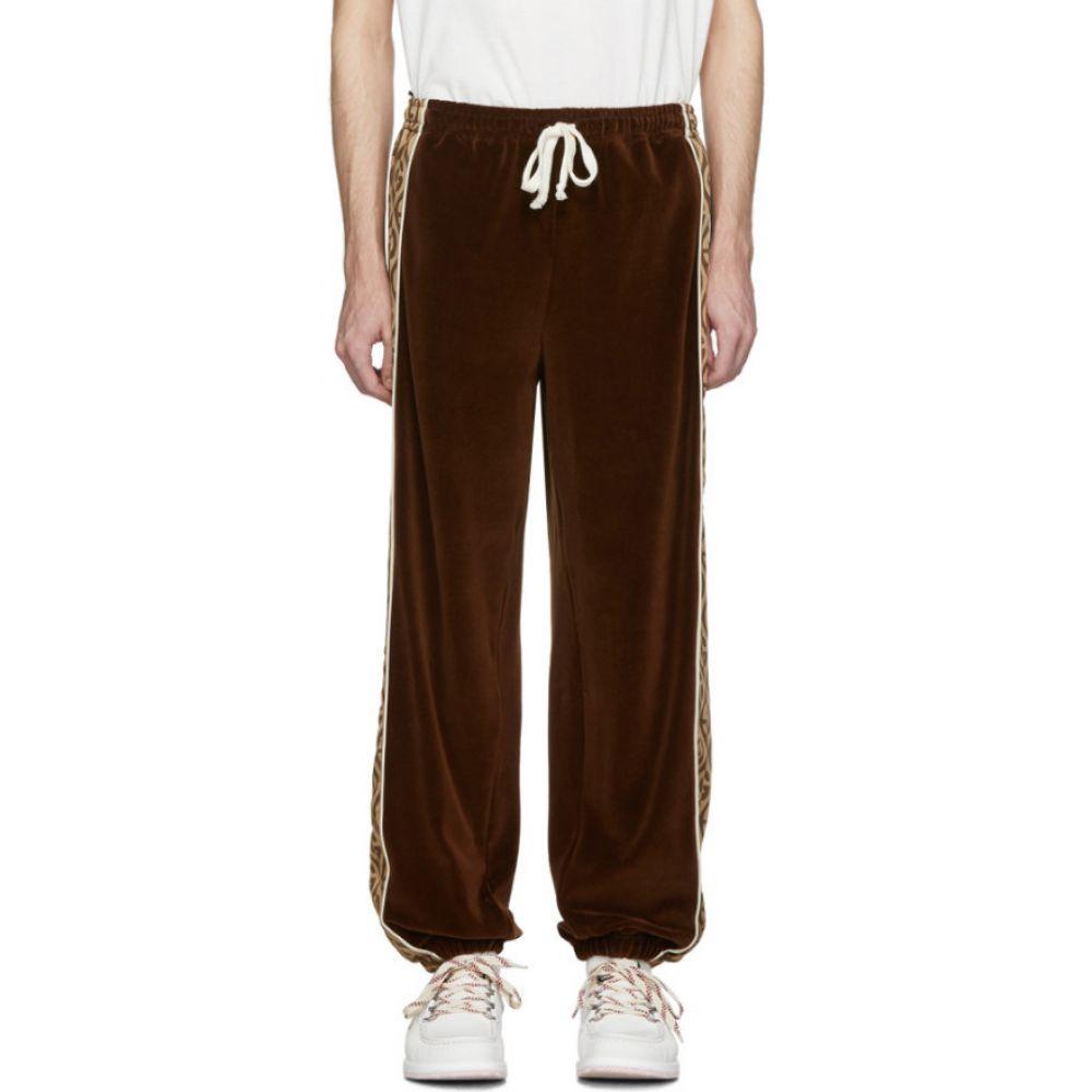 グッチ Gucci メンズ スウェット・ジャージ ボトムス・パンツ【Brown & Beige G Rhombus Velvet Track Pants】Brown/Beige