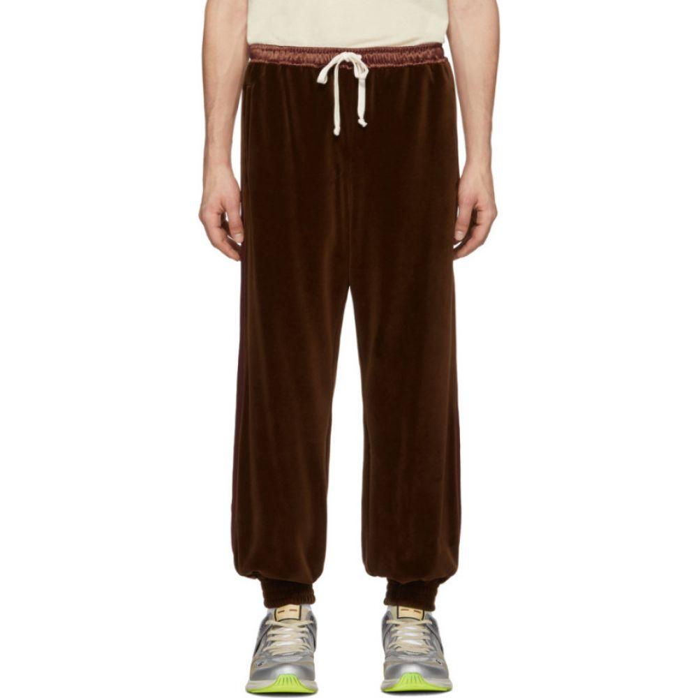 グッチ Gucci メンズ スウェット・ジャージ ボトムス・パンツ【Brown Chenille Jogging Lounge Pants】Chocolate