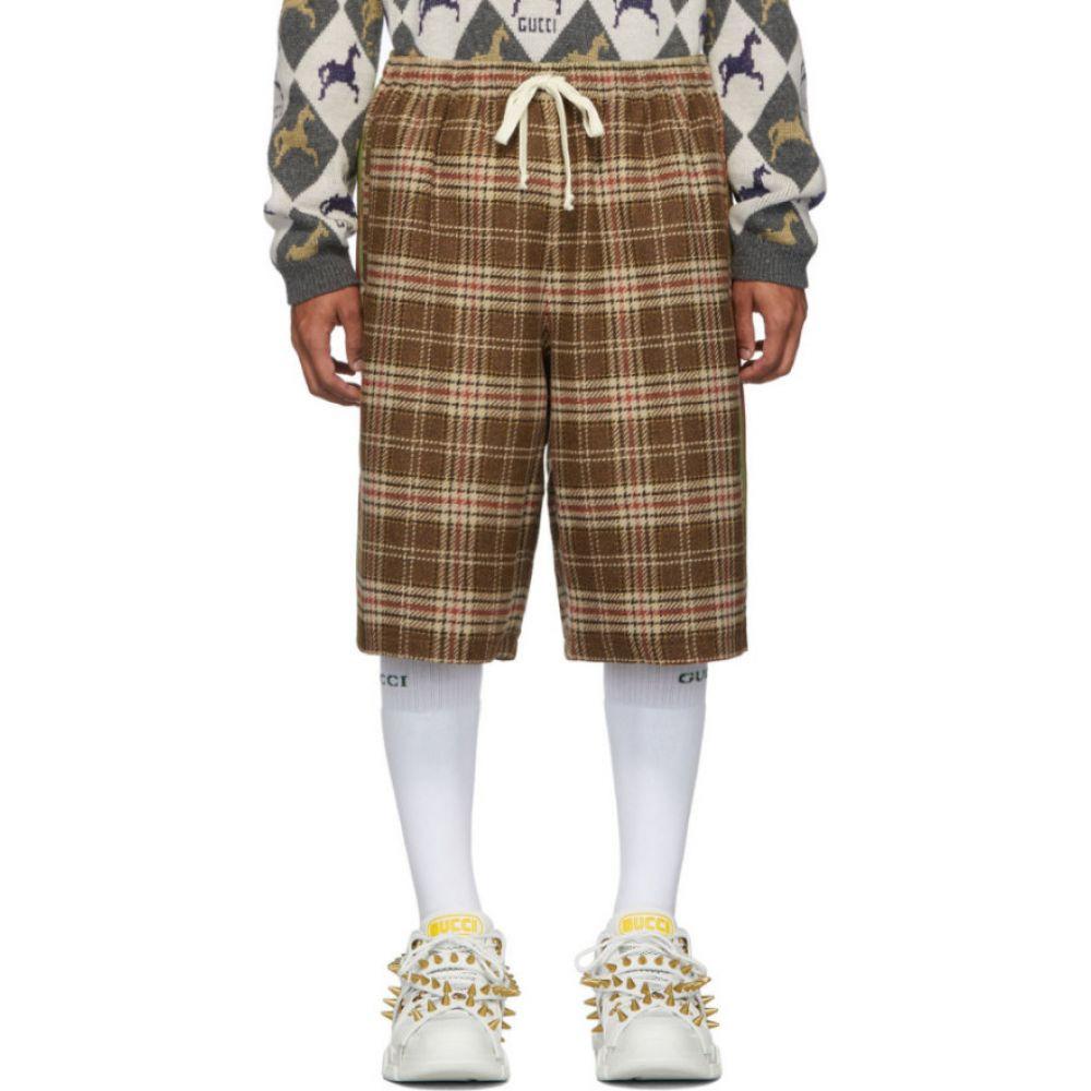 グッチ Gucci メンズ ショートパンツ ボトムス・パンツ【Brown & Beige Vintage Check Shorts】Brown/Beige/Orange