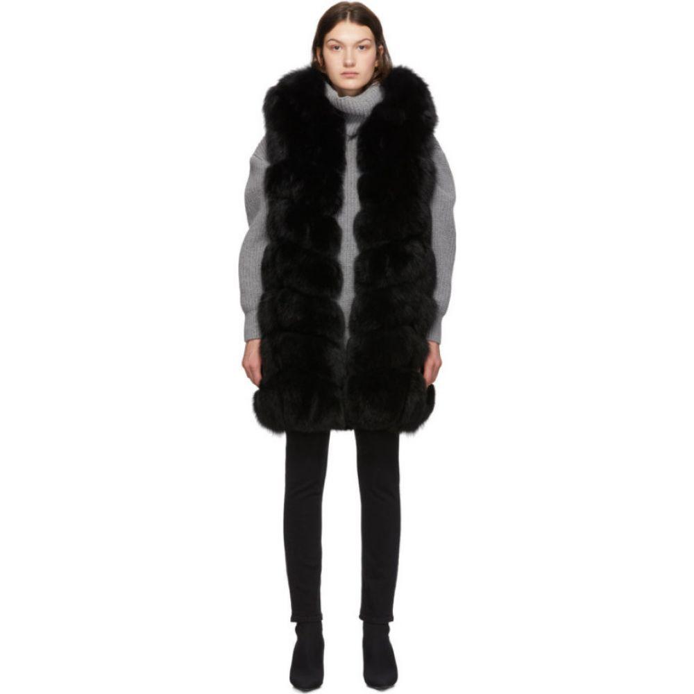 イヴ サロモン Yves Salomon レディース ベスト・ジレ トップス【Black Fox Fur Long Vest】Noir