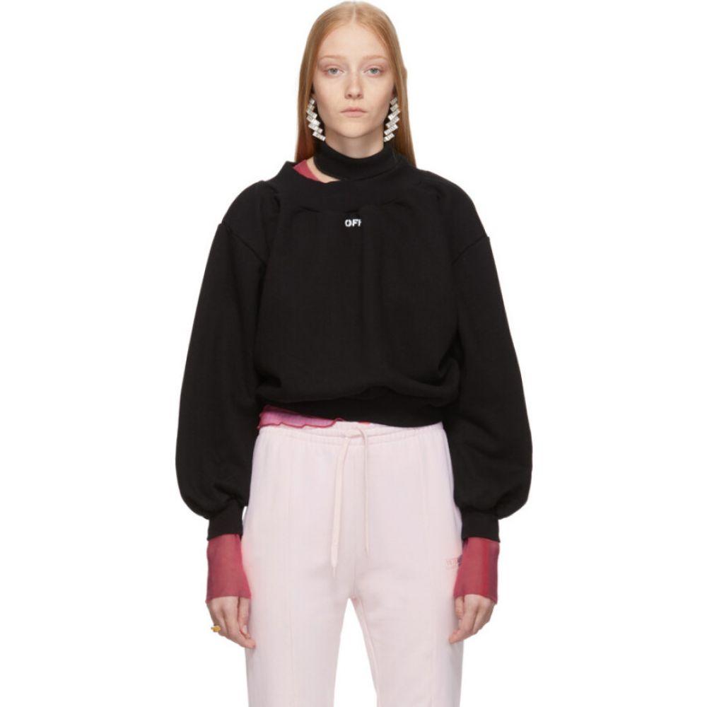 オフホワイト Off-White レディース スウェット・トレーナー トップス【SSENSE Exclusive Black Trashed Sweatshirt】Black/White