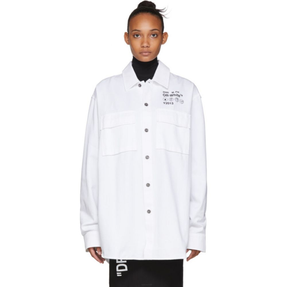 オフホワイト Off-White レディース ブラウス・シャツ トップス【White Gabardine Shirt】White/Black