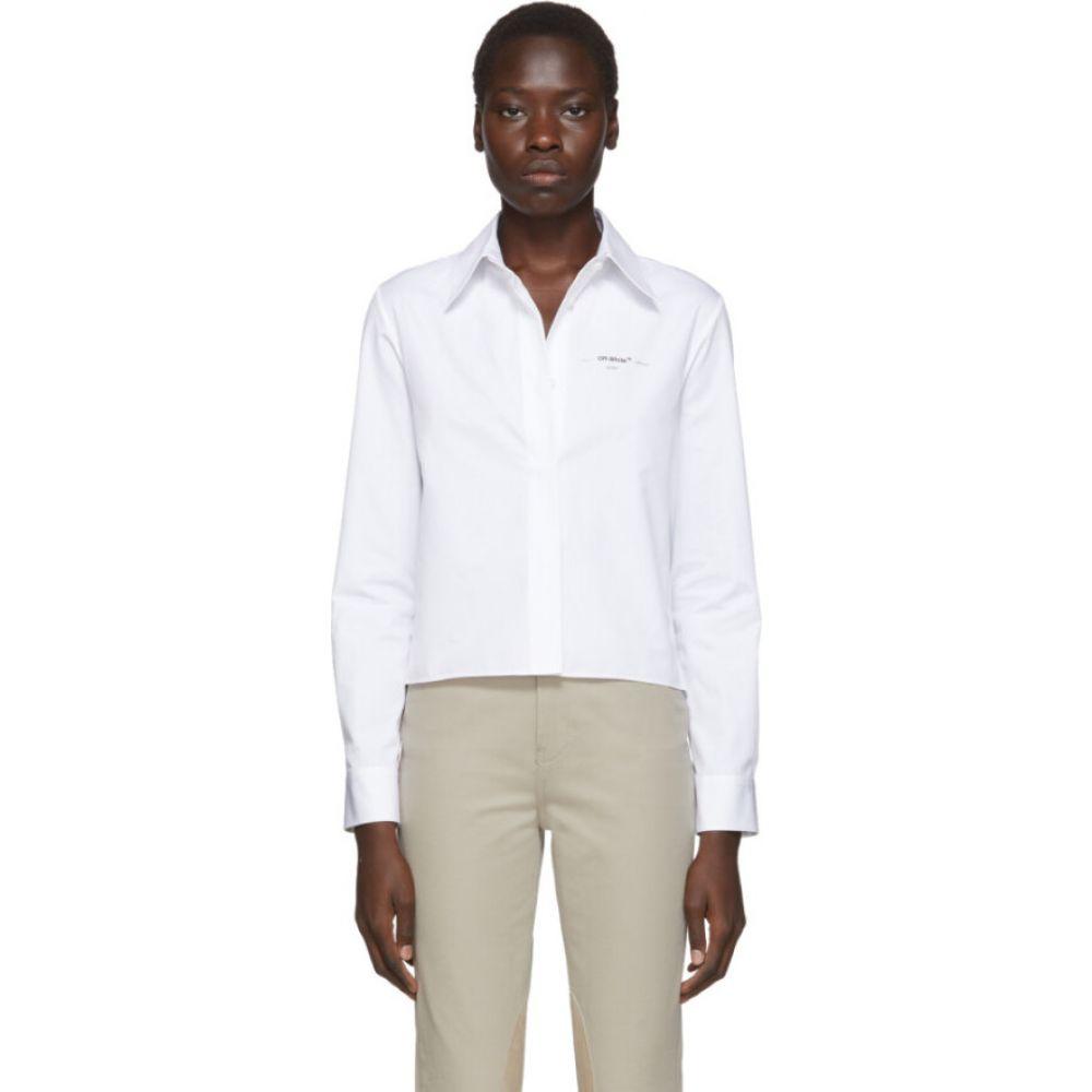 オフホワイト Off-White レディース ベアトップ・チューブトップ・クロップド トップス【White Cropped Plisse Shirt】White