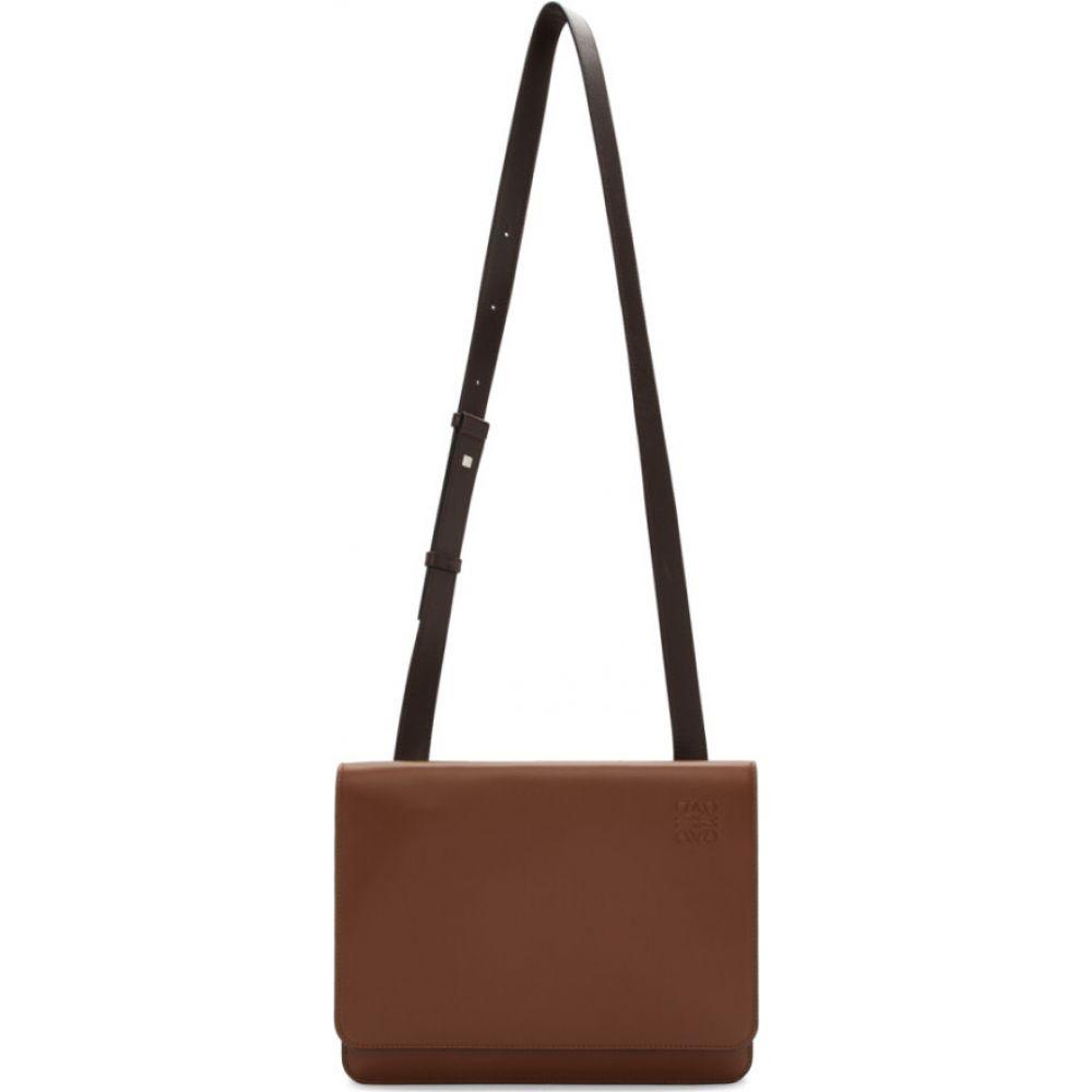 ロエベ Loewe メンズ メッセンジャーバッグ バッグ【Brown Gusset Flap Messenger Bag】Cognac