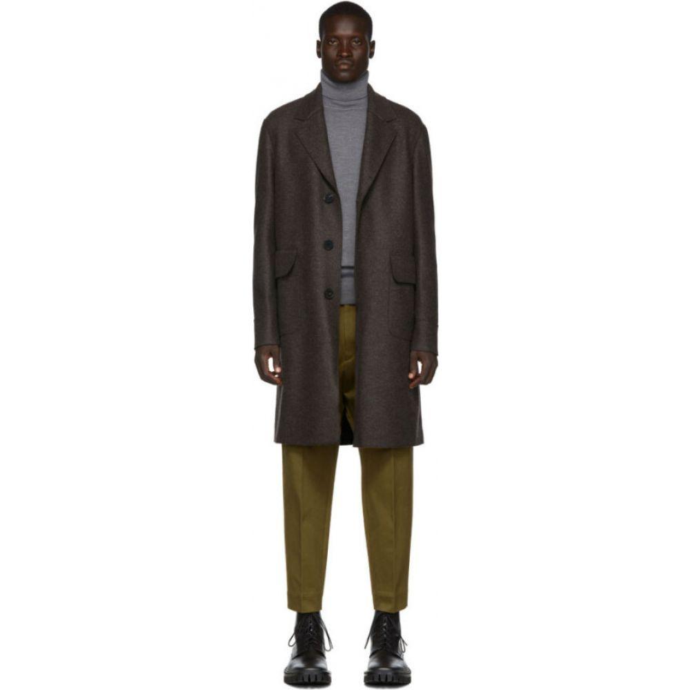 ハリスワーフロンドン Harris Wharf London メンズ コート ロングコート アウター【Brown Wool Pressed Mouline Long Coat】Military