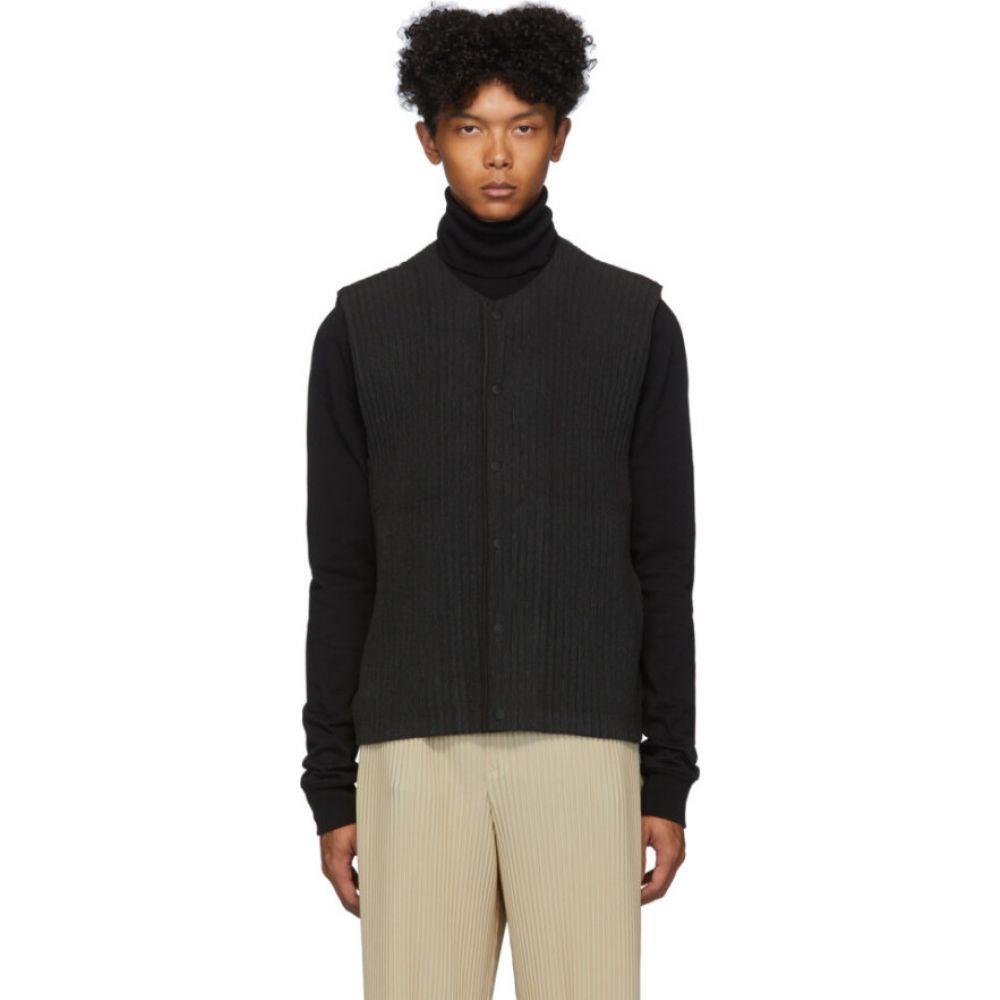 イッセイ ミヤケ Homme Plisse Issey Miyake メンズ ベスト・ジレ トップス【Grey Pleated Cotton Surface Vest】Charcoal