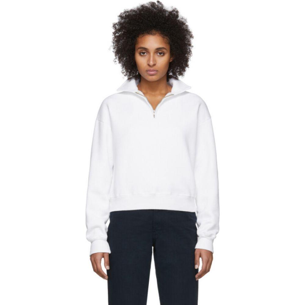 リダン Re/Done レディース スウェット・トレーナー トップス【Off-White 70s Half-Zip Sweatshirt】Off-white
