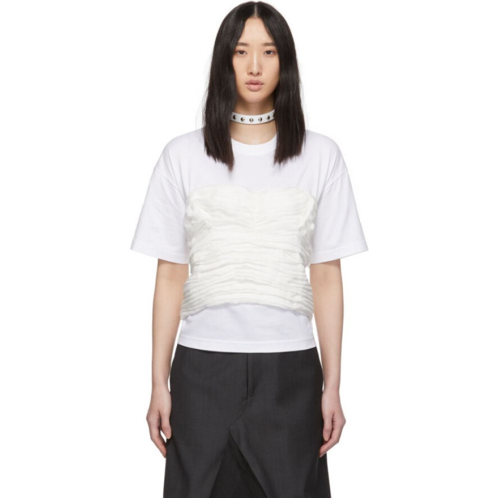 ジュンヤ ワタナベ Junya Watanabe レディース Tシャツ トップス【White Gathered Corset T-Shirt】White/White