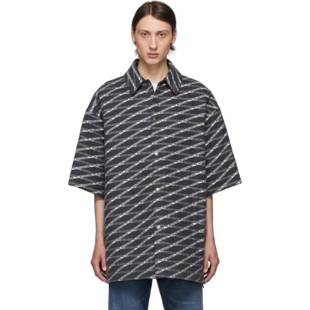 バレンシアガ Balenciaga メンズ シャツ トップス【Grey Padded Shirt】Black/White