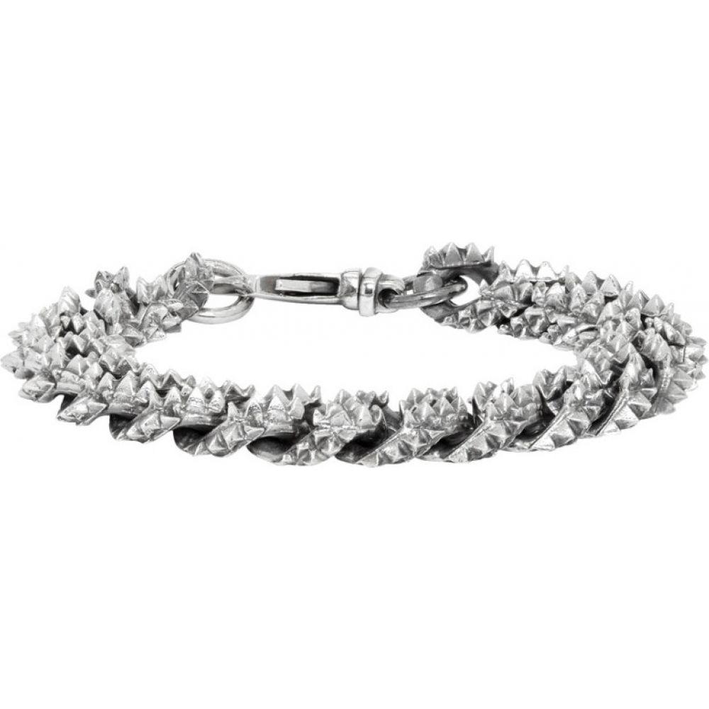 エマニュエレ ビコッキ Emanuele Bicocchi メンズ ブレスレット ジュエリー・アクセサリー【Silver Flat Curb Chain Bracelet】Silver