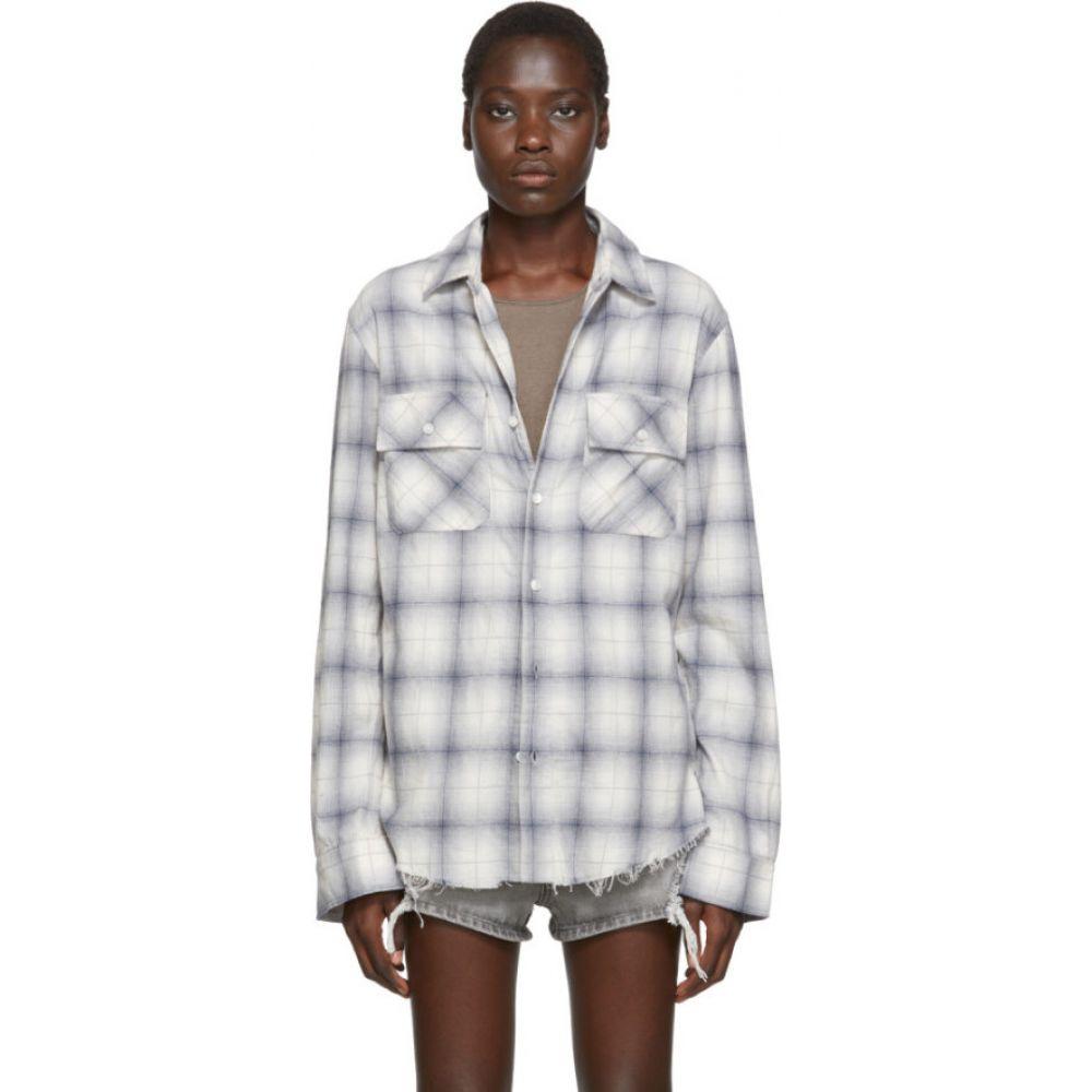 アミリ Amiri レディース ブラウス・シャツ フランネルシャツ トップス【Blue & Off-White Flannel Plaid Shirt】Blue/White