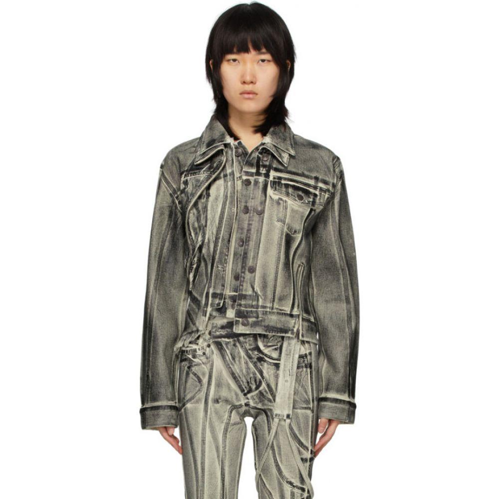 オットリンガー Ottolinger レディース ジャケット Gジャン アウター【Off-White & Black Double Collar Painted Denim Jacket】Black