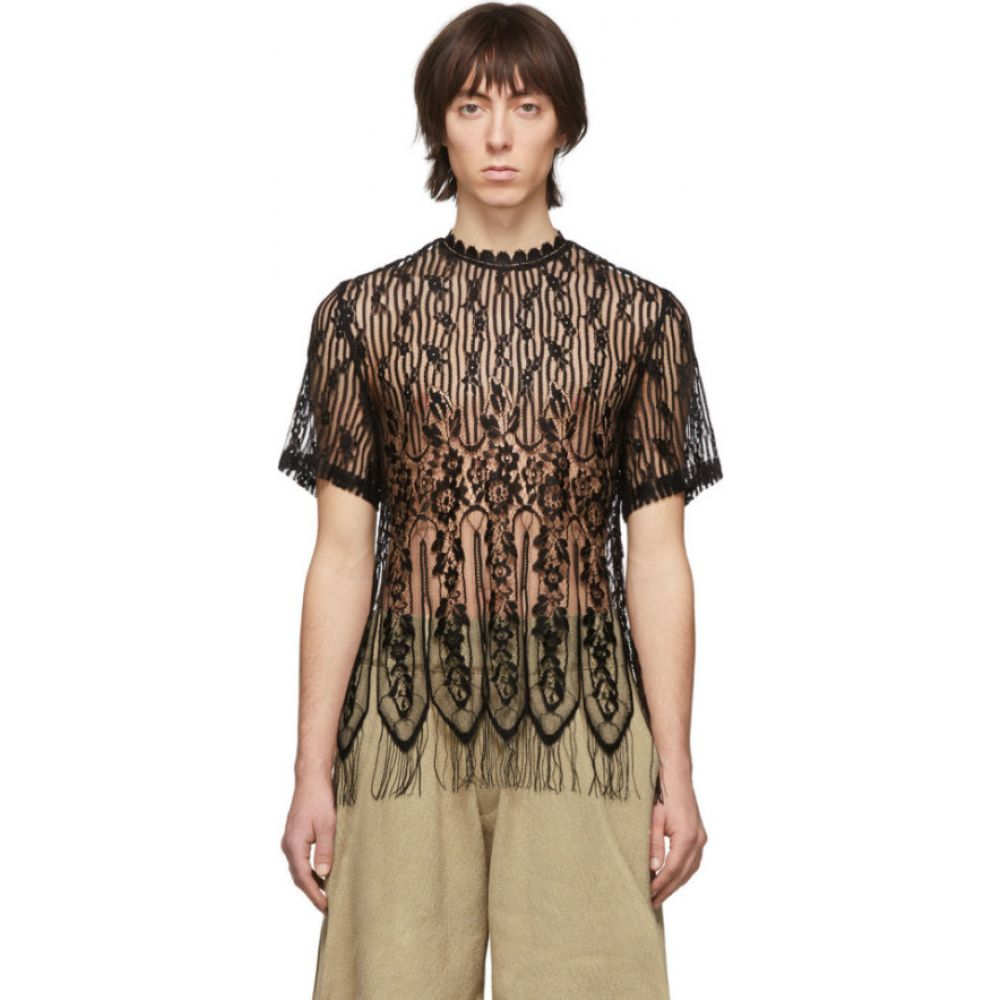 パロモ スペイン Palomo Spain メンズ Tシャツ トップス【Black Lace T-Shirt】Black