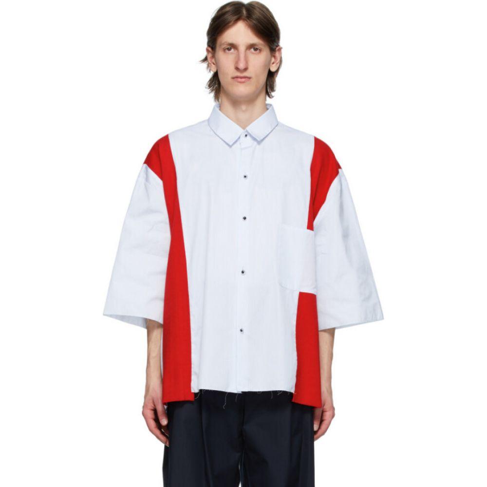 カミエル フォートへンス Camiel Fortgens メンズ シャツ トップス【Blue & Red Stripe Insert Shirt】Blue/Red