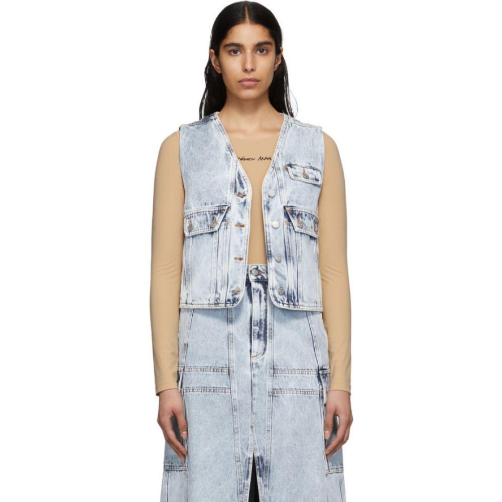 メゾン マルジェラ MM6 Maison Margiela レディース ベスト・ジレ トップス【Blue Acid Wash Denim Vest】Blue 's