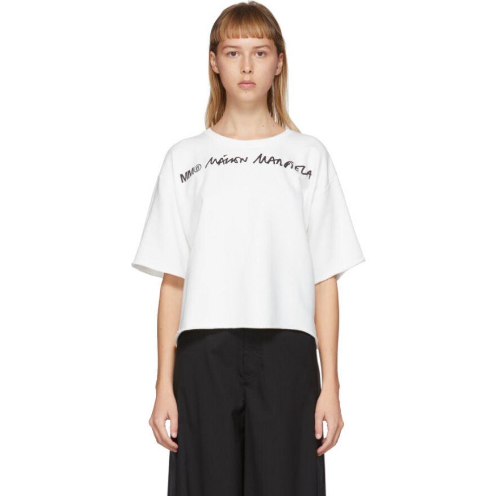 メゾン マルジェラ MM6 Maison Margiela レディース ベアトップ・チューブトップ・クロップド トップス【Off-White Wide Cropped Logo T-Shirt】White